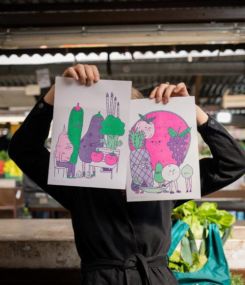 Ovocinári a zeleninári risografiky